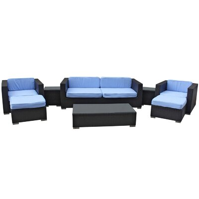Venice 8 Piece Deep Seating Group with Cushions Finish: Espresso, Fabric: Light Blue