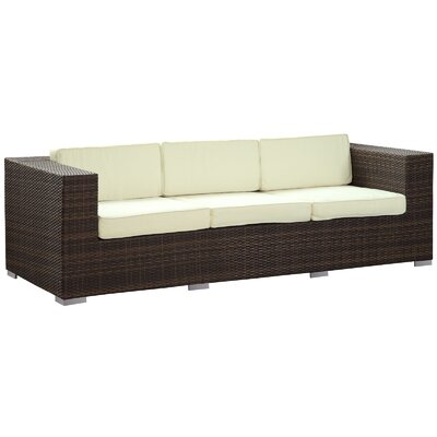 Daytona Outdoor Sofa with Cushions Finish: Brown, Fabric: White