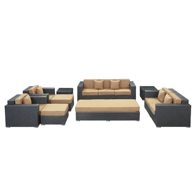 Eclipse 9 Piece Deep Seating Group with Cushions Finish: Espresso, Fabric: Mocha