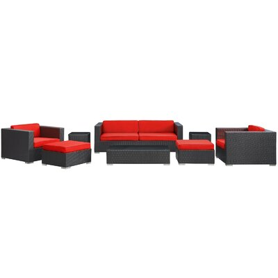 Venice 8 Piece Deep Seating Group with Cushions Finish: Espresso, Fabric: Red
