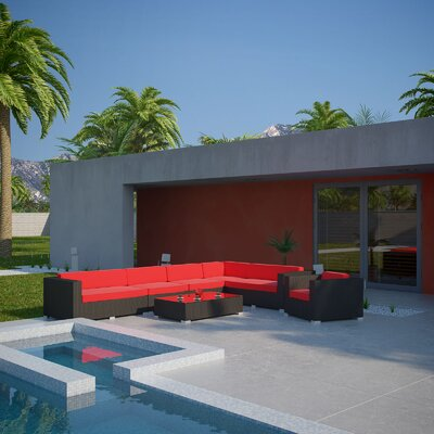 Palm Springs 7 Piece Sectional Seating Group with Cushions Fabric: Red, Finish: Espresso