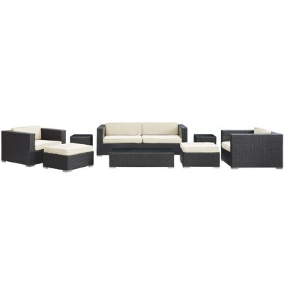 Venice 8 Piece Deep Seating Group with Cushions Finish: Espresso, Fabric: White
