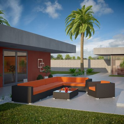 Palm Springs 7 Piece Sectional Seating Group with Cushions Fabric: Orange, Finish: Espresso