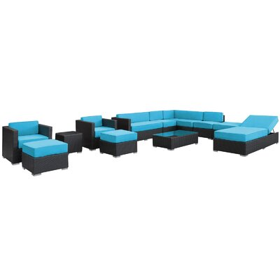Fusion 12 Piece Sectional Deep Seating Group with Cushions Fabric: Turquoise, Finish: Espresso