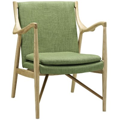 Makeshift Upholstered Armchair Upholstery: Natural/Green