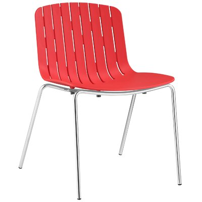 Trace Side Chair Upholstery: Red