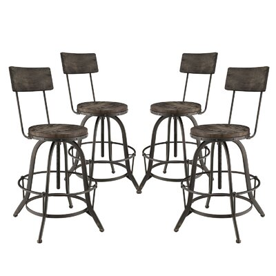 Procure Adjustable Height Swivel Bar Stool Upholstery: Black