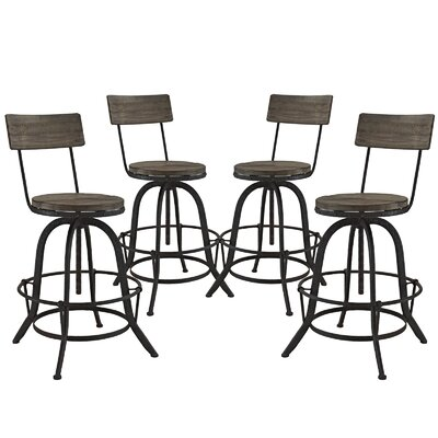 Procure Adjustable Height Swivel Bar Stool Upholstery: Brown