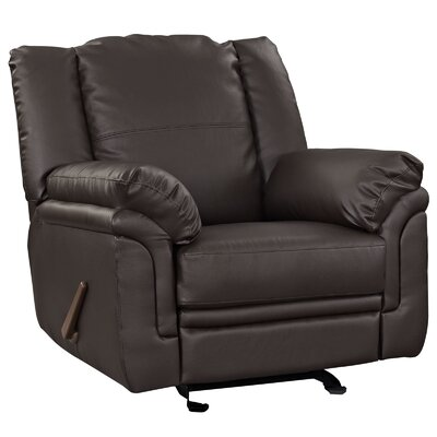 Grand Leather Manual Recliner Upholstery: Brown