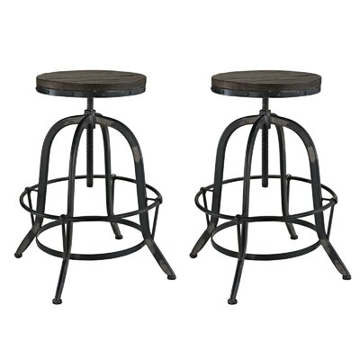 Collect Adjustable Height Swivel Bar Stool Finish: Black