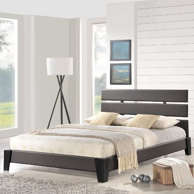 Zoe Upholstered Platform Bed Size: Full, Color: Brown