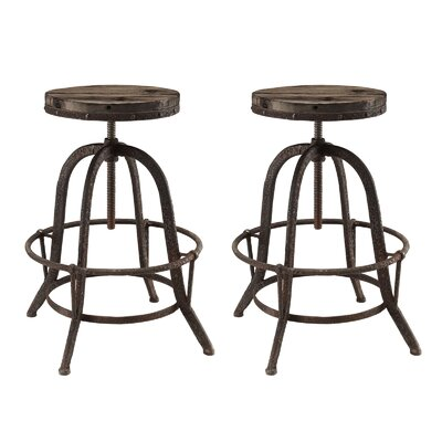Collect Adjustable Height Swivel Bar Stool Finish: Brown
