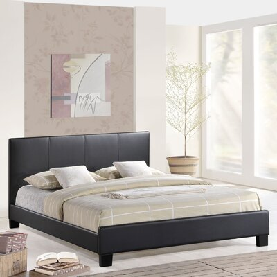 Alex Full/Double Upholstered Platform Bed Color: Black