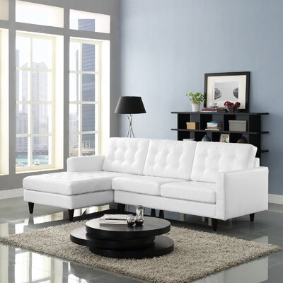 Princess Leather Sectional Upholstery: White