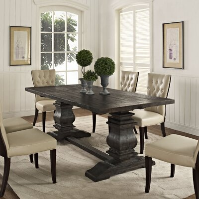 Column Wood Dining Table Color: Black