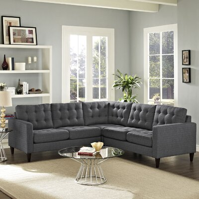 Princess Empress Sectional Upholstery: Gray