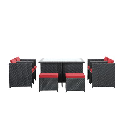 Reverse 9 Piece Outdoor Patio Dining Set with Cushions Color: Red