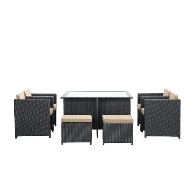 Reverse 9 Piece Outdoor Patio Dining Set with Cushions Color: Mocha