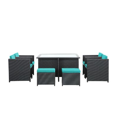 Reverse 9 Piece Outdoor Patio Dining Set with Cushions Color: Turquoise