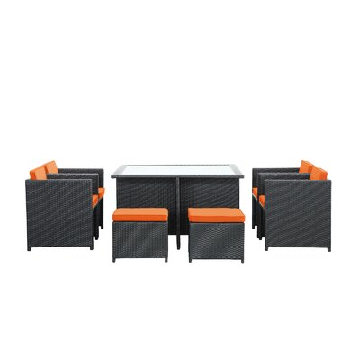 Reverse 9 Piece Outdoor Patio Dining Set with Cushions Color: Orange