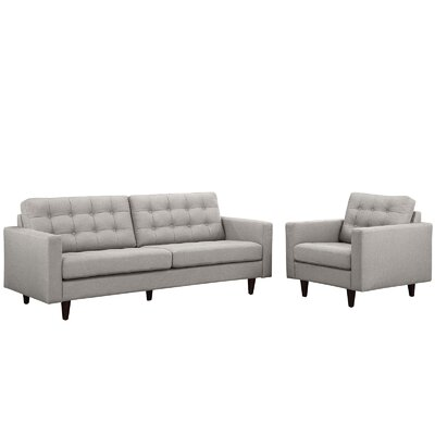 Princess Arm chair and Sofa Set Upholstery: Light Gray