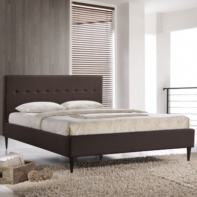 Upholstered Platform Bed Size: Queen, Upholstery: Dark Brown