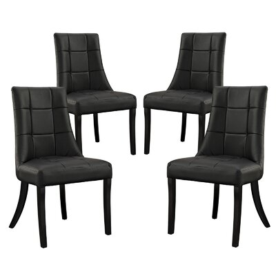 Noblesse Side Chair Upholstery: Black