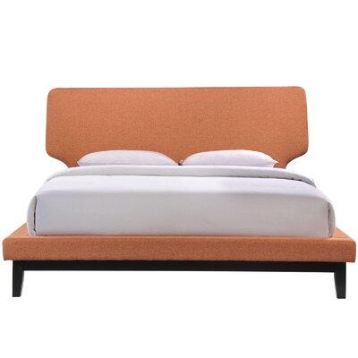 Queen Upholstered Platform Bed Upholstery: Orange