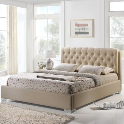 King Upholstered Platform Bed Color: Beige