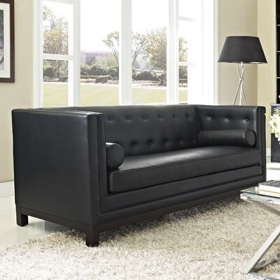 Stately Leather Chesterfield Sofa Upholstery: Black