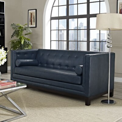 Stately Leather Chesterfield Sofa Upholstery: Blue