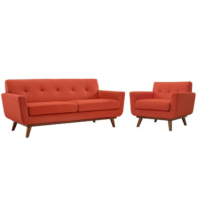 Saginaw Armchair and Loveseat Set Upholstery: Atomic Red