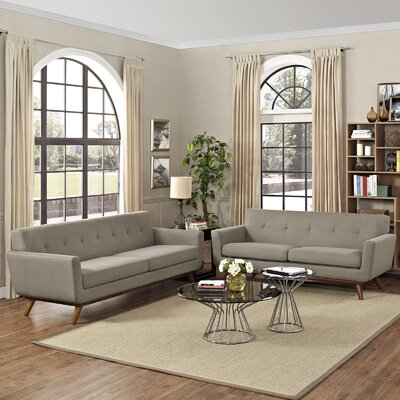 Saginaw 2 Piece Living Room Set Upholstery: Granite