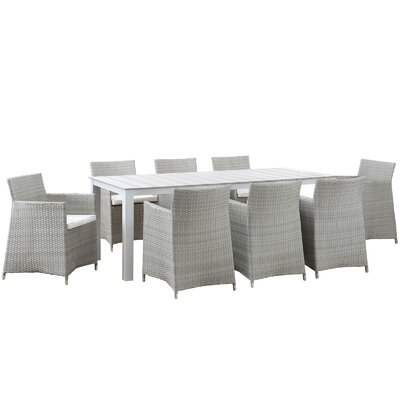Junction 9 Piece Outdoor Patio Dining Set Finish: Gray White