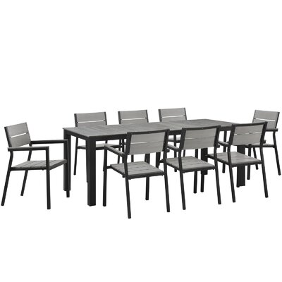 Maine 9 Piece Outdoor Patio Dining Set Finish: Brown Gray