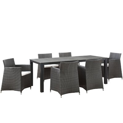 Junction 7 Piece Outdoor Patio Dining Set with Cushion Finish: Brown White, Table Size: 80.5 W