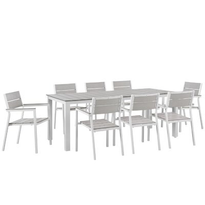 Ellport 9 Piece Outdoor Patio Dining Set Finish: White Light Gray