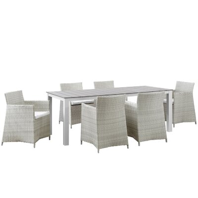 Junction 7 Piece Outdoor Patio Dining Set with Cushion Finish: Gray White, Table Size: 80.5 W
