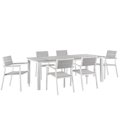 Maine 7 Piece Outdoor Patio Dining Set Finish: White Light Gray, Table Size: 80.5 W