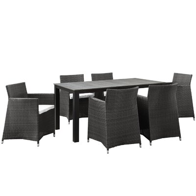 Junction 7 Piece Outdoor Patio Dining Set with Cushion Table Size: 63 W, Finish: Brown White