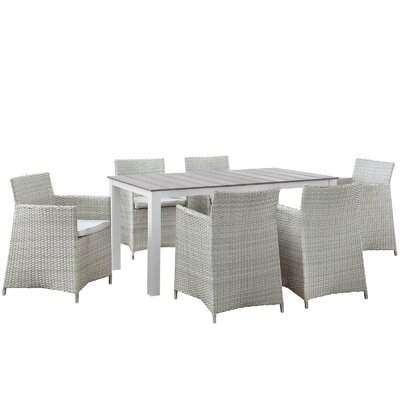 Junction 7 Piece Outdoor Patio Dining Set with Cushion Finish: Gray White, Table Size: 63 W