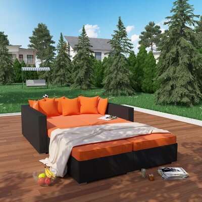 Fence 4 Piece Outdoor Patio Daybed with Cushions Finish: Espresso, Fabric: Orange