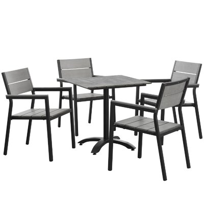 Maine 5 Piece Dining Set Finish: Brown / Grey