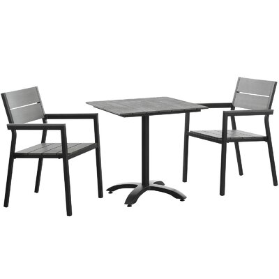 Ellport 3 Piece Bistro set Finish: Brown / Grey