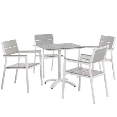 Maine 5 Piece Dining Set Finish: White / Light Grey
