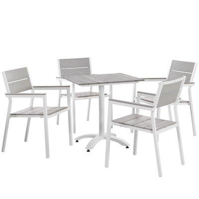 Ellport 5 Piece Dining Set Finish: White / Light Grey