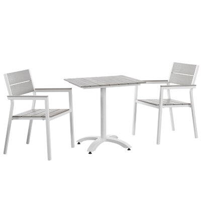 Maine 3 Piece Dining Set Finish: White / Light Grey