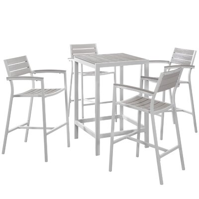 Ellport 5 Piece Bar Set Finish: White / Light Grey