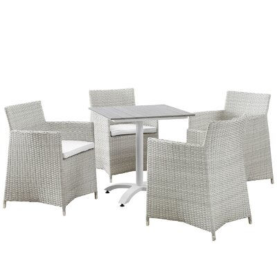Junction 5 Piece Dining Set With Cushions Finish: Grey / White