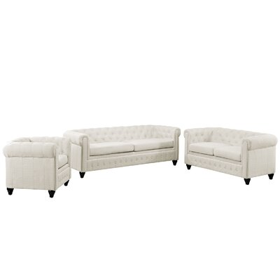 Modway Earl 3 Piece Fabric Living Room Set - Upholstery: Beige